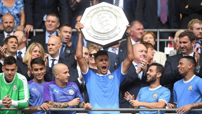 Manchester City new boy Rodri lifts the Community Shield at Wembley
