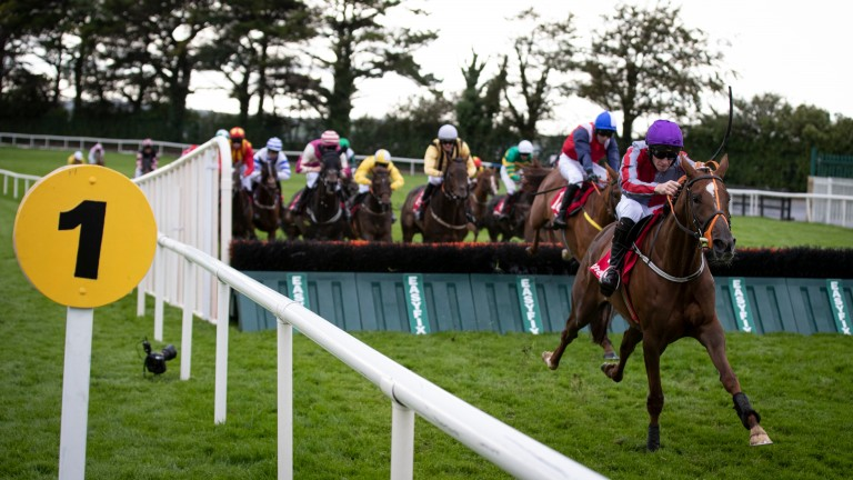 Bercasa and David Mullins get away from the last flight when winning the mares handicap hurdle