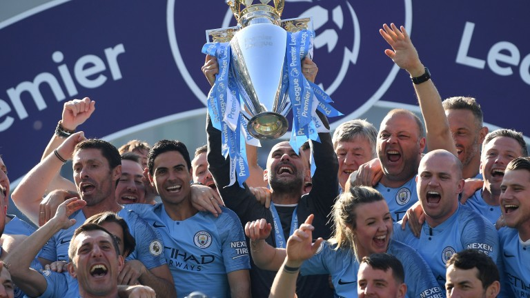 Manchester City celebrate their final day title-success last season