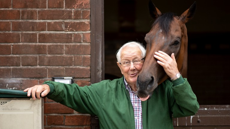 David Elsworth with Ripp Orf at Egerton House Stables in Newmarket 5.8.19Pic: Edward Whitaker