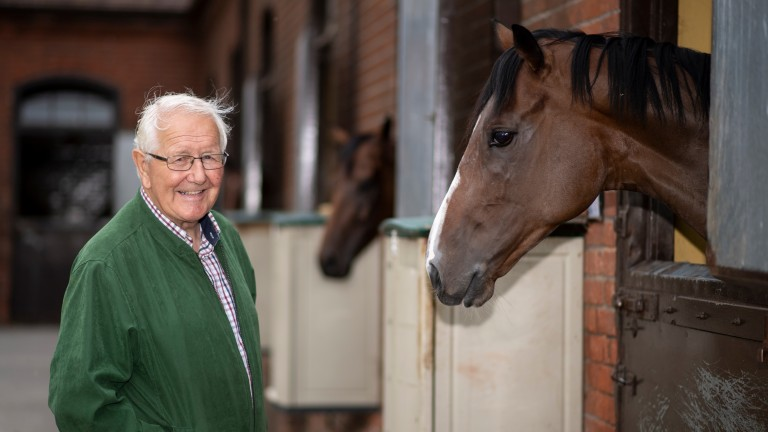 David Elsworth with his happy team of racehorses at Egerton House Stables in Newmarket 5.8.19Pic: Edward Whitaker