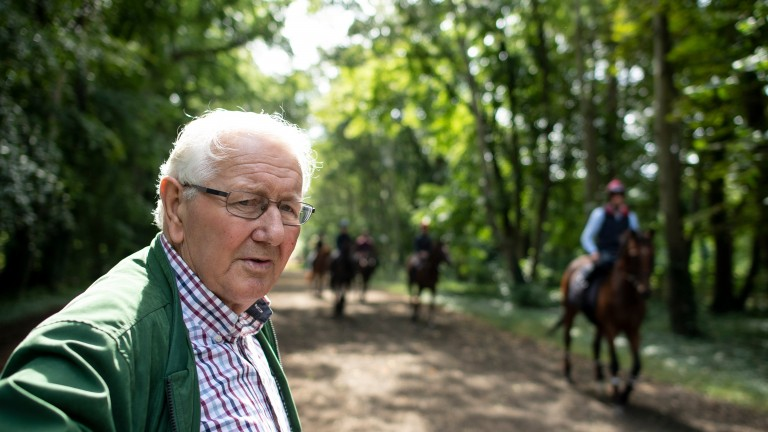 David Elsworth with his string at Egerton House Stables in Newmarket 5.8.19Pic: Edward Whitaker