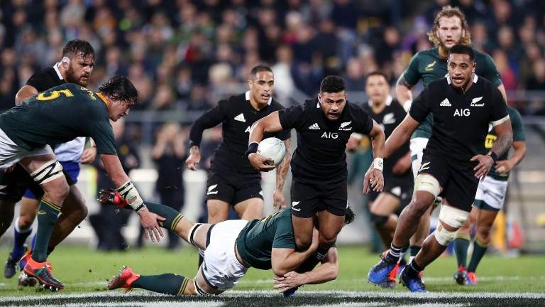 New Zealand fly-half Richie Mo'unga is stopped in his tracks against South Africa