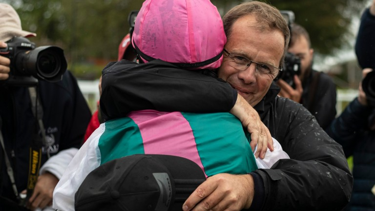 Ger Lyons celebrates Siskin's win with rider Colin Keane after the Phoenix Stakes