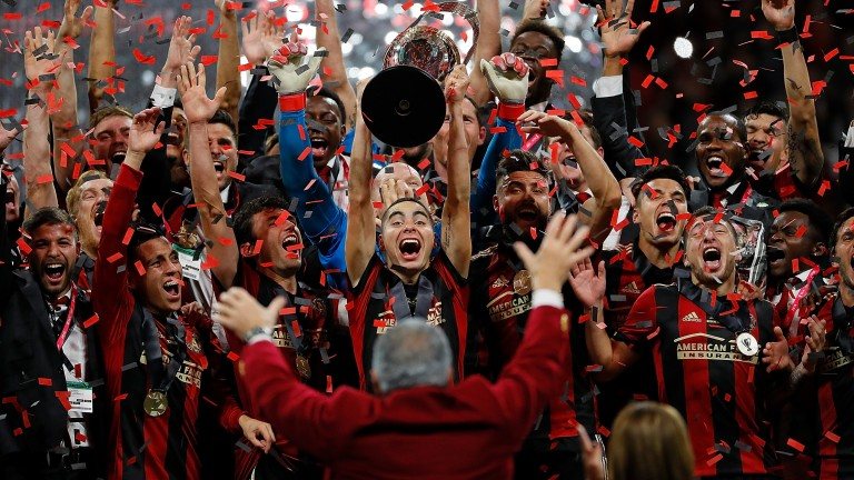 Atlanta United celebrates their 2018 MLS Cup victory over the Portland Timbers