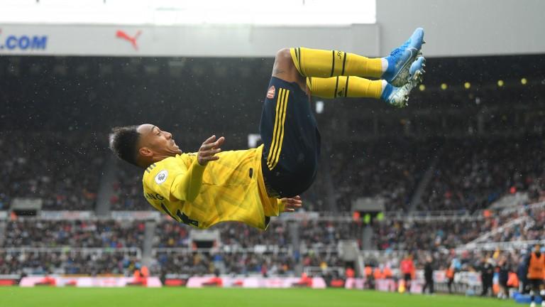 Pierre-Emerick Aubameyang celebrates Arsenal's winner at Newcastle