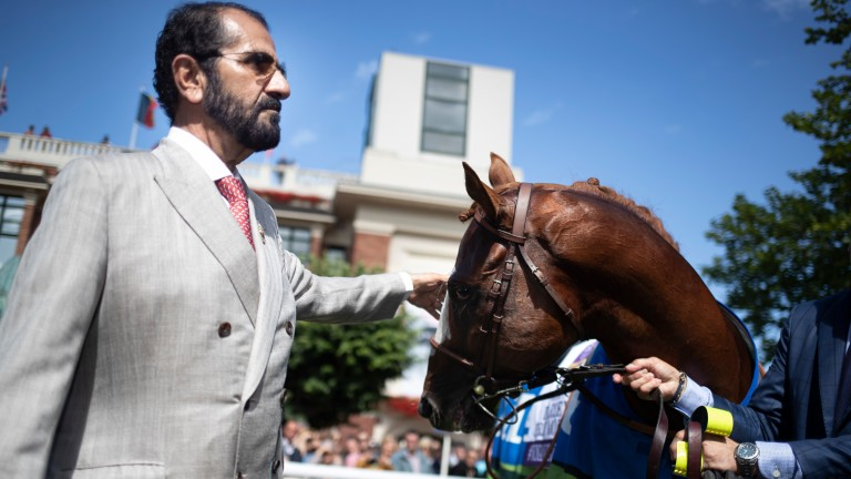 Sheikh Mohammed with Earthligh after his stunning success in the Darley Prix Morny at Deauville