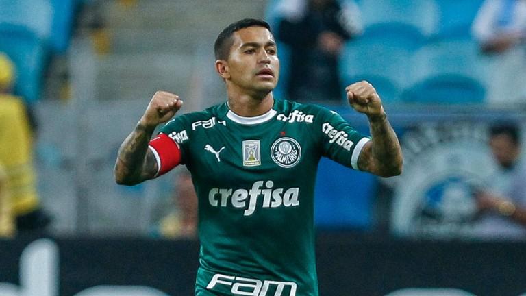 Palmeiras forward Dudu celebrates opening the scoring in their 1-1 draw at Gremio last weekend