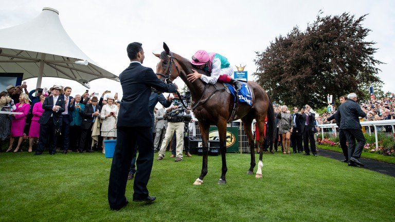 Enable and Frankie Dettori after her Yorkshire Oaks success in 2019