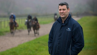 11.11.17 - Tim Vaughan Racing Stable Tour, Cowbridge, South Wales - Tim Vaughan assesses the horses out on the gallops.
