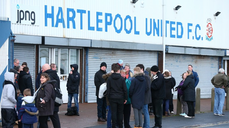 Fans gather outside Hartlepool United's Victoria Park stadium