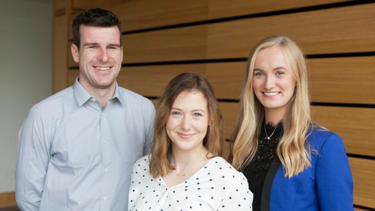 Irish Godolphin Flying Start trainees: Joseph Bradle, Niamh O?Brien and Emma Coleman