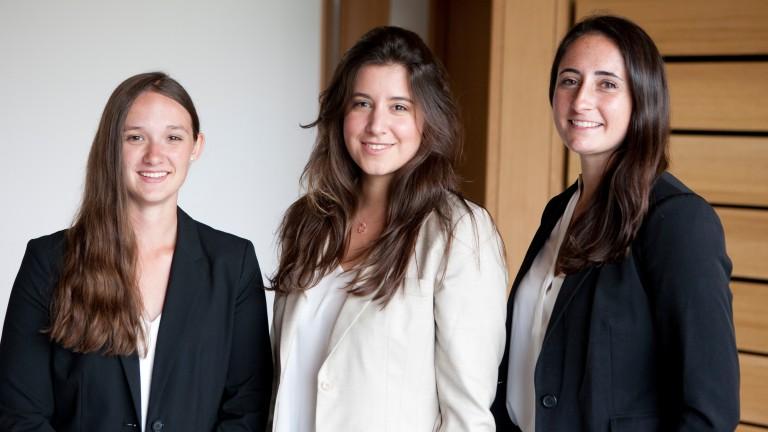 US Godolphin Flying Start trainees: Julie Witt, Victoria Canessa and Rachel Wade