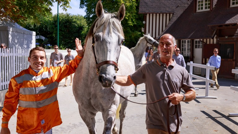 Maxime Guyon is reunited with faithful partner Solow ahead of the Au Dela Des Pistes parade of champions at Deauville