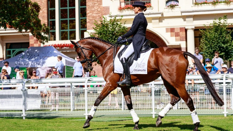 International event rider and ADDP ambassador Clara Loiseau putting the retrained Ultramaille through her dressage paces during the Au Dela Des Pistes charity day at Deauville