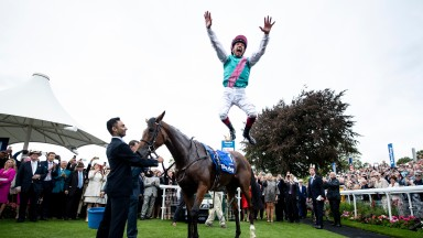 Enable (Frankie Dettori) in the winners enclosure after the Yorkshire Oaks Pic: Edward Whitaker