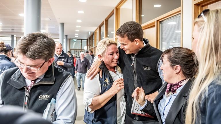 An emotional Anna Sundstrom is congratulated by Goffs UK's Tim Kent