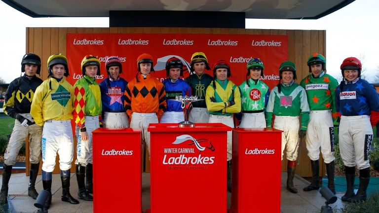 Jockeys pictured before last year's Ladbrokes Trophy, won by Sizing Tennessee