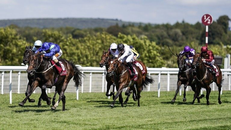 Dark Vision (Silvestre De Sousa) wins the Group 2 Qatar Vintage Stakes at Goodwood as a two-year-old
