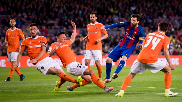 Lionel Messi scored twice as Barcelona beat Osasuna 7-1 in their last meeting in 2017