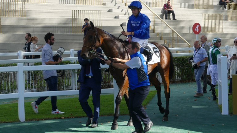 Victor Ludorum and Mickael Barzalona made a big impression in landing Longchamp's Prix de Fontenoy by three and a half lengths on debut