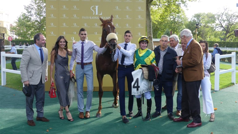 Kenway and happy connections after the Prix La Rochette at Longchamp. Trainer Frederic Rossi (extreme left) and jockey Theo Bachelot can now dream of the Prix Jean-Luc Lagardere on Arc day