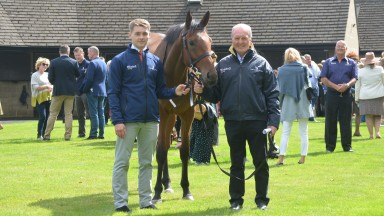 Jonjo O'Neill jnr and snr enjoy the stable's owners' day