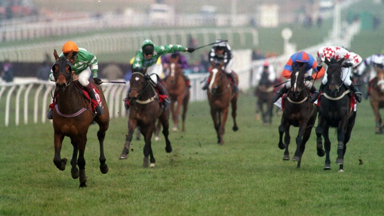 Paddy's Return (left), the best hurdler trained by Ferdy Murphy, leads up the hill to land the 1996 Triumph Hurdle