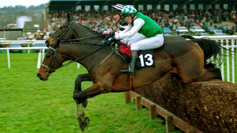 Sibton Abbey (nearside) wins the 1992 Hennessy Cognac Gold Cup from Jodami