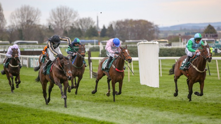 Thebannerkingrebel (right) was not far off McFabulous (black cap) at Aintree in April