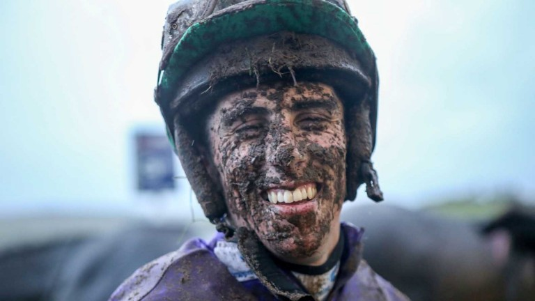 Tough going: a mudsplattered Finian O'Toole is all smiles after winning at Hexham in 2017