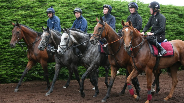 The five former jockeys in discussion after riding out