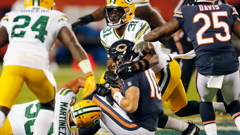 Chicago Bears quarterback Mitchell Trubisky had a tough night against the Green Bay Packers in NFL Week One