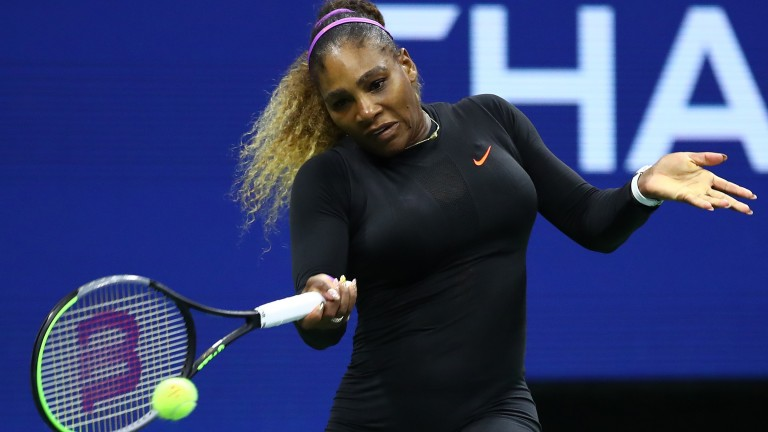Serena Williams looks fully tuned in on her way to her semi-final thrashing of Elina Svitolina