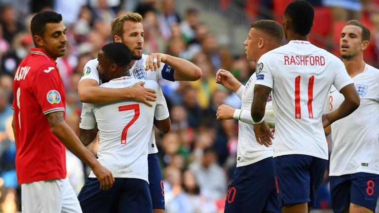 Harry Kane of England celebrates scoring against Bulgaria