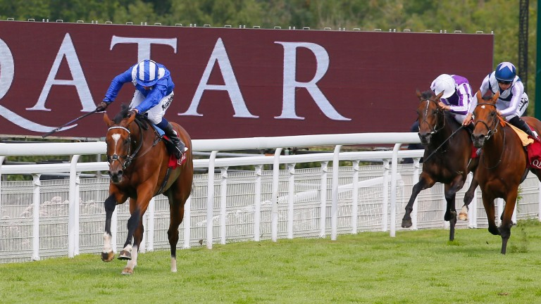 Enbihaar strides clear of Manuela De Vega (right) in last year's Lillie Langtry