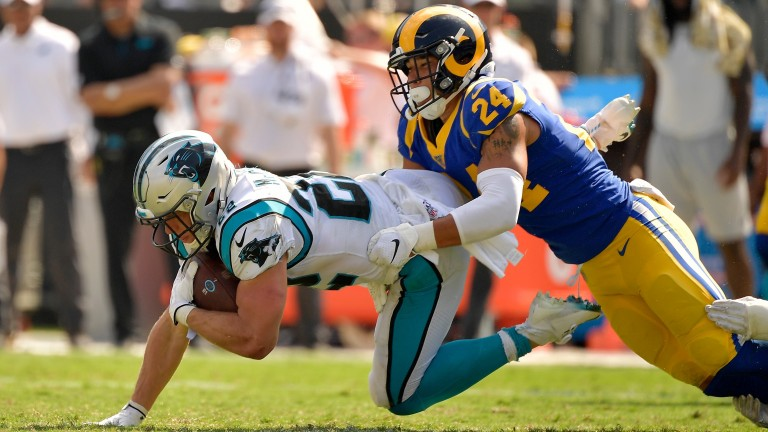 Carolina Panthers running back Christian McCaffrey scored two touchdowns against the Los Angeles Rams