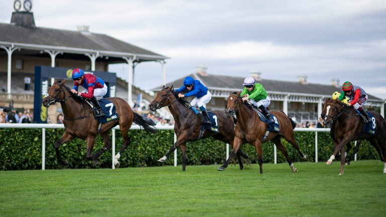 Powerful Breeze and James Doyle have the May Hill Stakes in safe keeping