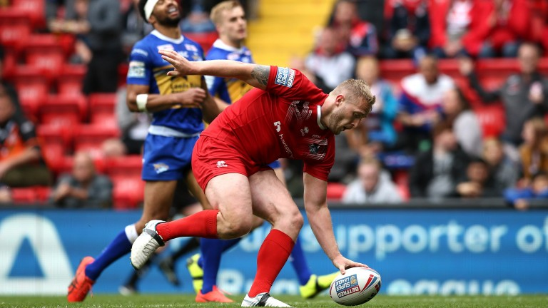 London Broncos ace Jordan Abdull touches down in the Betfred Super League clash with Leeds on Magic Weekend at Anfield in May