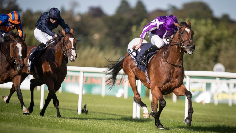 Magical and Ryan Moore win the Qipco Irish Champion Stakes at Leopardstown