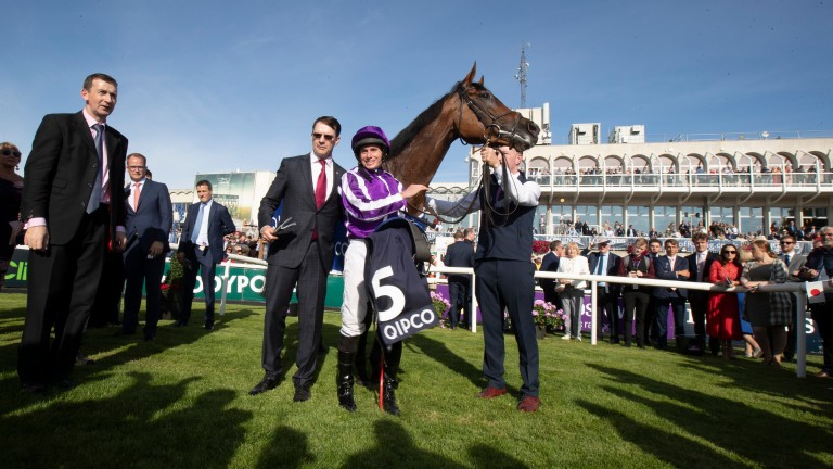 All smiles with Aidan O'Brien and Ryan Moore following her first Irish Champion Stakes victory in 2019
