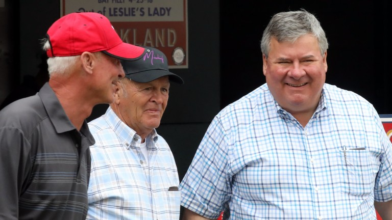 Keeneland's Geoffrey Russell (right) was thrilled with the interest in Book 2