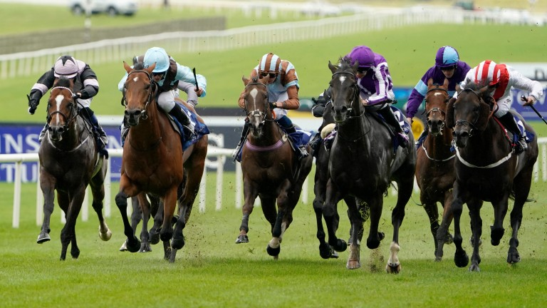 Fairyland (second left) wins the Derrinstown Stud Flying Five Stakes at the Curragh