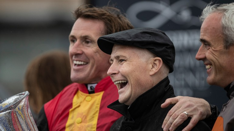Sir Anthony McCoy with Pat Smullen after winning his charity race at the Curragh last September