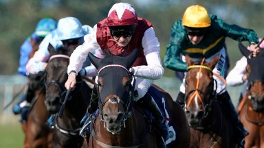 YARMOUTH, ENGLAND - SEPTEMBER 18: Robert Havlin riding Fanny Logan win The EBF Stallions John Musker Fillies' Stakes at Yarmouth Racecourse on September 18, 2019 in Yarmouth, England. (Photo by Alan Crowhurst/Getty Images)