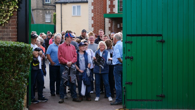Visitors gather at Sir Mark Prescott's stables