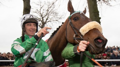 Presenting Percy: with jockey Davy Russell after winning the John Mulhern Galmoy Hurdle at Gowran Park in 2019