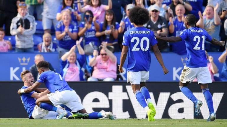 James Maddison celebrates as he scores Leicester's second goal against Tottenham Hotspur