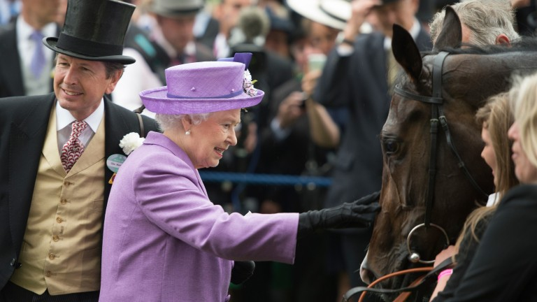 The Queen greets Estimate after her memorable Gold Cup win in 2013