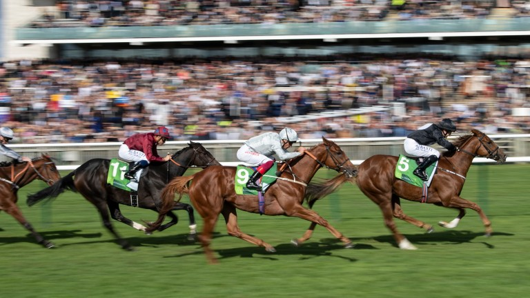 Millisle (leading): denies Raffle Prize in the Cheveley Park Stakes